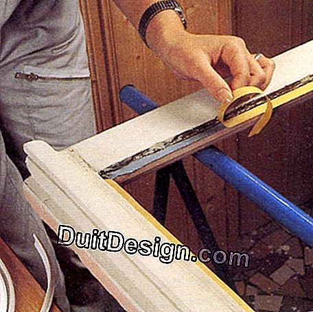 Laying a plastic tape for sealing