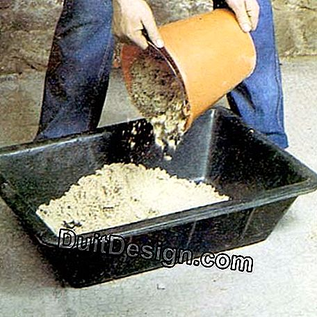 Dosing of sand for the mortar