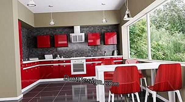 A beautiful red lacquered kitchen, modern and contemporary