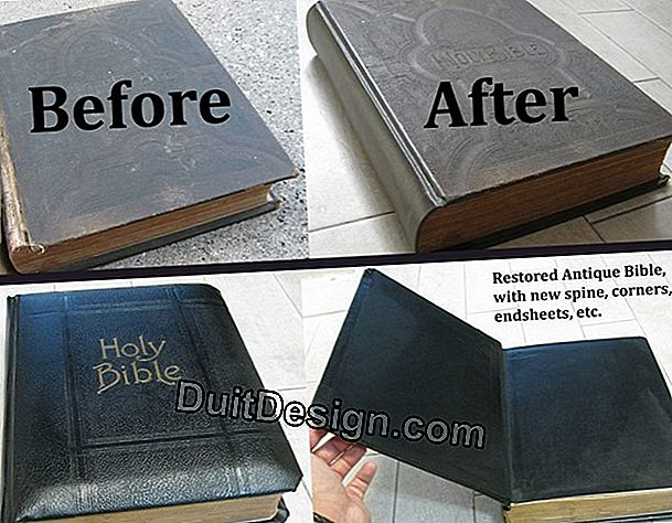 Restoration of an old book with leather binding