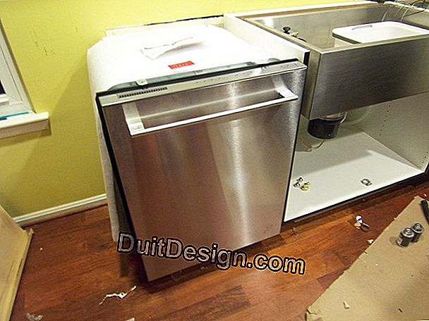 Built-in dishwasher under a kitchen worktop