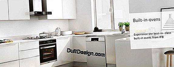 Built-in washing machine under a kitchen worktop