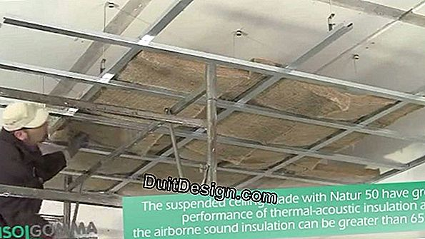 False ceiling made of plasterboard with acoustic and thermal insulation