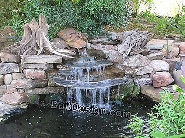 A garden pond with waterfall