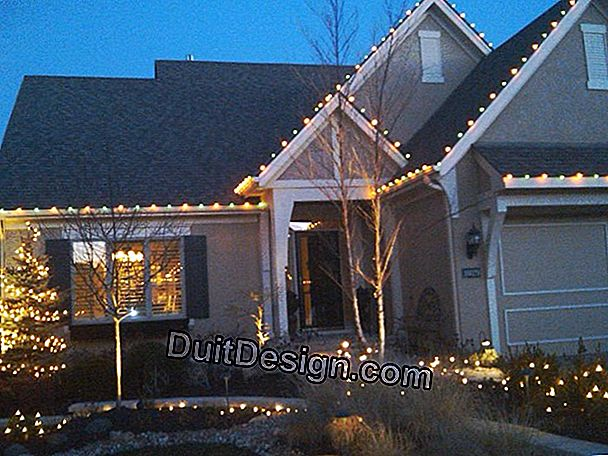 Install outdoor illuminations for Christmas