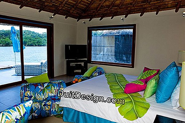 A bedroom with tropical decor