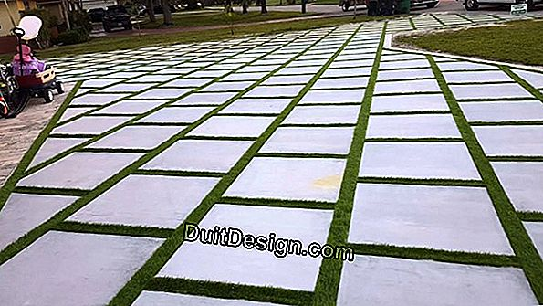 Lay concrete turf slabs in driveways
