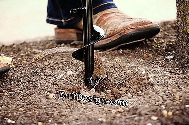 Drill the soil of his garden with an auger