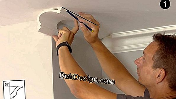 Install moldings and cornices on the ceiling