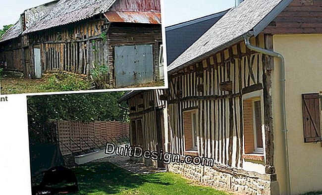 Before - after: a ruined half-timbered barn converted into a dwelling house