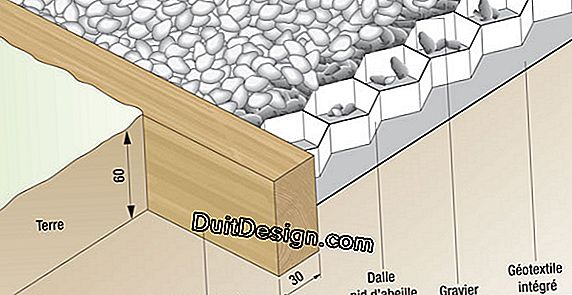 Diagram of a gravel driveway laid on a honeycomb slab (wooden edge, geotextile, gravel, honeycomb position, aisle thickness and minimum width of the border)